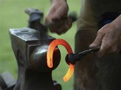 every horse needs them... thanks to the  blacksmith who makes and shapes them.