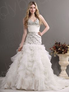 corset wedding dress | ... Halter Chapel Train Ivory Organza Lace Up Corset Wedding Dress Lh0051