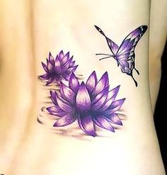 In ancient Asian spirituality lotus flower has significant meaning and symbolism. Check out the beautiful Lotus Flower Tattoos here. Purple Lotus Tattoo, Butterfly With Flowers Tattoo, Purple Tattoos, Lotus Flower Tattoo Design, Butterfly Tattoo Designs, Up Tattoos, Body Art Tattoos, Tattoos For Women, Lotus Flowers
