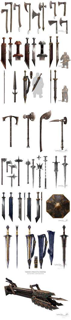 Erebor dwarves weapons concept art_原描述_by Weta Workshop_from ?_from Site Fantasy Armor, Fantasy Weapons, Medieval Fantasy, Anime Weapons, O Hobbit, Medieval Weapons, Weapon Concept Art, Fantasy Inspiration, Middle Earth