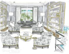 Den design by Roxanne Lumme Interiors, rendering by Jane Gianarelli.