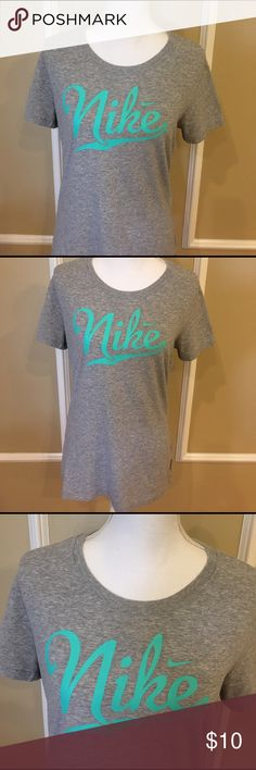 Nike shirt Nike dri-fit cotton tee.  Worn and washed a few times but in great shape.  Size large.  Buy it for your next work out!! 💪 Nike Tops Tees - Short Sleeve