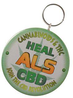 Valxart's CBD Cannabinoids Heal ALS-Lou Gehrig's Disease 2-Side Keychain + Magnet Valxart