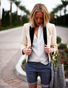 Tweed jacket, denim shorts
