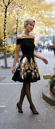 classic black off the shoulder fit and flare dress with metallic jacquard skirt, black cut out pointy toe heels. The perfect Christmas or holiday party dress! Click for complete outfit details and links!