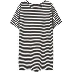Violeta BY MANGO Striped shift dress ($24) ❤ liked on Polyvore featuring dresses, striped short sleeve dress, mango dresses, short sleeve dress, zip back dress and short sleeve shift dress