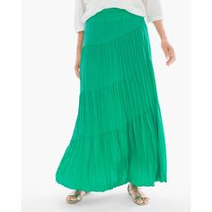 Chico's Tiered Crinkle Maxi Skirt ($109) ❤ liked on Polyvore featuring skirts, congo green, satin maxi skirt, petite long skirts, long skirts, petite maxi skirt and long satin skirt