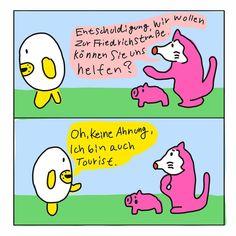 Illustrator NippashiはInstagramを利用しています:「Deutsch lernen 🇩🇪 すぐに使える簡単ドイツ語講座👨🏫  【和訳】 1:すみません!道を教えて欲しいのですが。 2:あー残念、、私も旅行者なのでわかりません。 ... #illustration#Satire#Karikatur…」 Berlin, Tokyo, Japanese, Comics, Illustration, Instagram, First Aid, Japanese Language, Tokyo Japan
