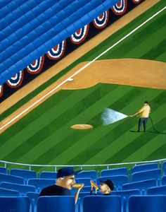 """""""Early Arrivals"""" by Mark Ulriksen. Baseball Painting, Sports Art, Illustrators, Basketball Court, America, Paintings, Game, Paint, Painting Art"""