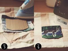 Idea for ironing down multiple folds using cardboard template (how to sew your own pocket onto a shirt).