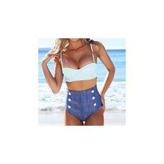 Retro High-waist Tankini (6.585 CRC) ❤ liked on Polyvore featuring swimwear, bikinis, women, retro high waisted bikini, high rise bikini, highwaisted bikini, retro high waisted swimwear and white tankini
