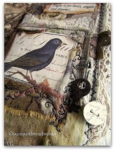 """Birds Inspire"" Lacebook showing machine embroidery 