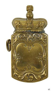 Antique Brass Crown Match Safe Vesta Case | eBay