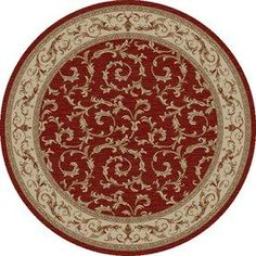 Concord Global Valencia Red Round Indoor Woven Oriental Area Rug (Comm