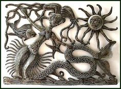 Mermaid on the Beach  Handcrafted Haitian Recycled by HaitianMetal, $52.95
