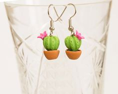 Green Cactuses earrings. Polymer clay by JewelleryForWorld on Etsy