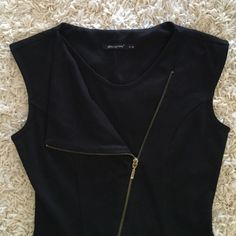 LBD with zipper Cute little black dress with zipper that can be worn up or down. Perfect for night out. Has some pilling from wear. UK brand size 8 which is about a small in US Dresses Mini