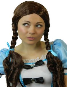 Yummy Bee Women's Costume Wig Dorothy Long Brown Braided Pigtails - Schoolgirl Wizard of Oz