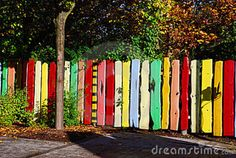 Colorful painted garden fence in Berlin, Germany