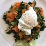 BROWN RICE, KALE AND ROASTED SWEET POTATO SAUTÉ WITH POACHED EGGS