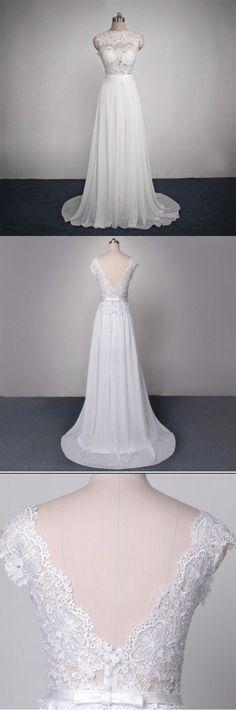 Long Lace Chiffon Elegant Pretty Most Popular Custom Handmade Wedding Dress, WD0091