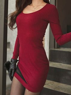 Sexy Round Collar Long Sleeve Slim Hip Package Dress Red