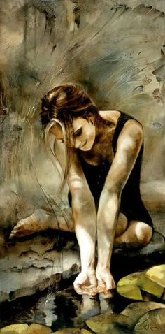 I love this painting.  It's so serene, I can practically feel the water in my hands.  Lidia Wylangowska.   #art #LidiaWylangownska