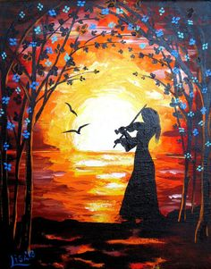 Original Abstract Painting  Girl with violin  by ArtonlineGallery, $79.00