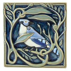 Revival Blue Jay Tile - Artist: Terri Kern  - Rookwood Pottery - Cincinnati, Ohio
