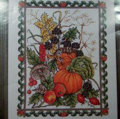 Cross Stitch Kit Harvest Festival Fall Thanksgiving Mushrooms, Pumpkins, Acorns #DMC #Sampler
