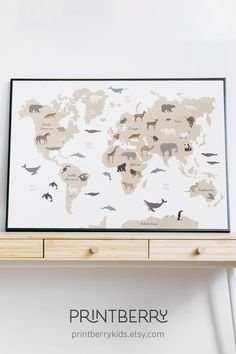 This charming educational print will serve perfectly as a safari decor above a child's bed. The Nursery printable presents a World Map and Animals. Click through to view more artworks! #nurserywallart #nurseryinspo #nurserydecor #bohoprintable #worldmapprint #animaloftheworld #animalworldmap #safarinursery Nursery Shelves, Nursery Wall Art, Nursery Decor, Ocean Themed Nursery, Safari Nursery, World Map Poster, World Map Wall Art, Rgb Color Space, Kids World Map