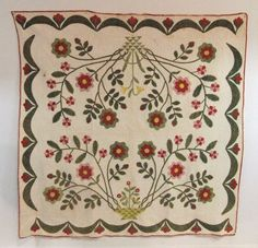 """1850 applique quilt """"Flower Basket"""" from upstate New York, 73 x Auction, Live Auctioneers Absolutely gorgeous mid century appliqued quilt! Wouldn't it be fun to make a full size applique quilt like this? Old Quilts, Antique Quilts, Vintage Quilts, Mini Quilts, Hand Applique, Applique Patterns, Quilt Patterns, Applique Ideas, Doll Patterns"""