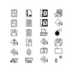 """Susan Kare, Macintosh Icons, 1984. Apple Computer Inc. USA """"Kare's trash can, folders, smiley Mac, command button symbol and other icons are reduced to just a few pixels (32 x 32) yet they remain..."""