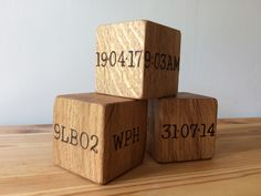 Beautiful solid oak birth cubes from www.holderandhook.co.uk A fabulous birthday or christening gift idea or way to celebrate the new baby.