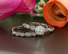 Vintage Art deco 14K White Gold diamond Engagement Ring set, 1 carat 6.5mm Round Forever Brilliant Moissanite, ES4139 Certified Appraisal