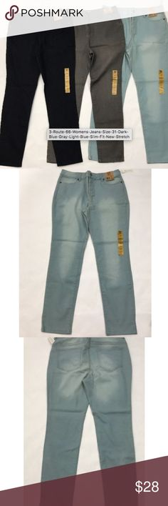"""(3)Route 66 Jeans Size 31 Blue Gray Dark Light NEW You will receive all 3 pairs. One dark blue. One light blue. One medium gray. All new with tags.  Inseam 29"""" Rise 11"""" Waist when laying flat measures 17"""" across. Route 66 Jeans Straight Leg"""
