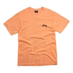 Stussy Drag On Pigment Dyed T-Shirt Orange ($32) ❤ liked on Polyvore featuring tops, t-shirts, graphic t shirts, dragon t shirt, orange tee, graphic design tees and graphic tees