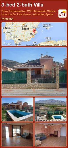 3-bed 2-bath Villa in Rural Urbanisation With Mountain Views, Hondon De Las Nieves, Alicante, Spain ►€139,950 #PropertyForSaleInSpain