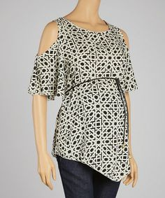 Another great find on #zulily! Black & White Woven Chain Maternity Cutout Top by Hot Mama Maternity #zulilyfinds $24.99, regular 90.00