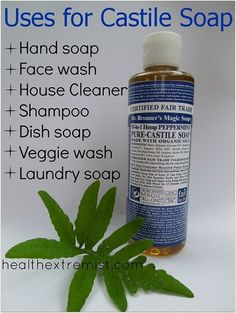10 Handy Castile Soap Uses -- What? I can use my Dr. Bronner's Magic Soap for more than just body wash? Awesomesauce.