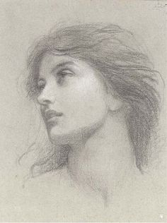 classicaldrawing:  Sir Francis Bernard Dicksee, P.R.A. (1853-1928)Study for the head of the damsel in 'Chivalry'Pencil and white chalk on ...