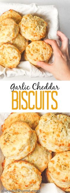 Garlic cheddar biscuits qualify as breakfast or a dinner side dish. These are packed with flavour and can be prepped for the oven in less than 15 minutes! | aheadofthyme.com via @aheadofthyme