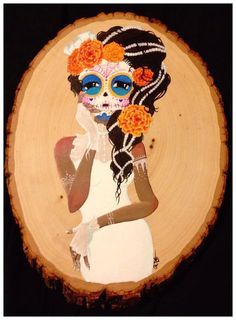 Day of the dead sugar skull girl marigolds painting
