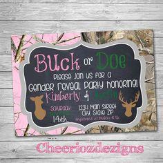 Buck or Doe Gender Reveal Party Invitation- Camo Print- Digital Invite - Boy or