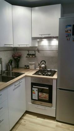 Basement Apartment Decor, Small Apartment Interior, Small Apartment Kitchen, Living Room Kitchen, Kitchen Interior, Kitchen Decor, Hidden Kitchen, Kitchen Sets, Small Kitchenette