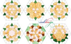 Rose Star quilt blocks are a relaxing portable project. Print precise lines on fabric OR print your own templates for English Paper Piecing with Inklingo. Dresden Plate Patterns, Star Quilt Patterns, Paper Piecing Patterns, Star Quilt Blocks, Star Quilts, Quilting Templates, Quilting Designs, Millefiori Quilts, Sampler Quilts