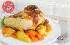 Receta casera de pollo asado en olla GM, con verduras, patatas y zanahorias. Fácil, rápido y sencillo.