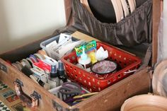 Cozy Little House Craft Room In A Suitcase- Need to put all my crafting and art supplies in suit cases.