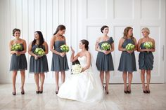 slate grey bridesmaid dress...love this color! Now just add some bright yellow heels and we're good to go!