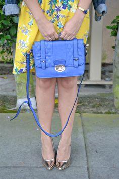 Cobalt Blue Bag + @Cheryl Paxson Bracelet + @ShoeDazzle Rose Gold Wedges